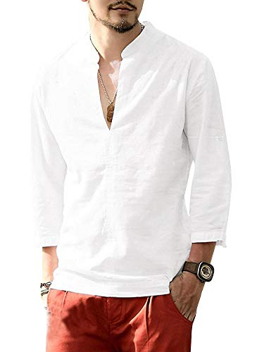 Makkrom Mens Linen 3/4 Sleeve Henley Shirts Cotton Loose Casual Summer Beach T Shirt Tops D-White
