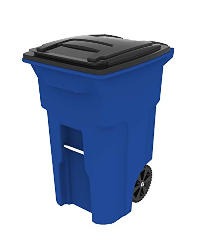 Toter 025564-R1705 Residential Heavy Duty Two Wheeled Trash Can with Attached Lid, 64 gallon,