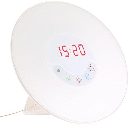 auvisio Wake-up LED-Radio-Wecker m. USB, Sonnenaufgangs-Simulation, Naturtöne