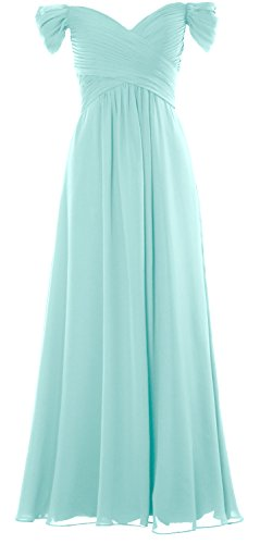Prom Chiffon Party Formal Women Off Aqua Dress MACloth Wedding Shoulder the Long Gown AXgw0