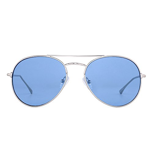 Clear Aviator Sunglasses Classic Flat Tinted Lens Metal Eyeglasses Men Women (Silver / Transparent - Blue Tinted Lenses
