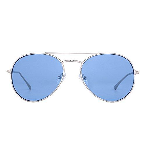 Clear Aviator Sunglasses Classic Flat Tinted Lens Metal Eyeglasses Men Women (Silver / Transparent - Blue Lenses Tinted