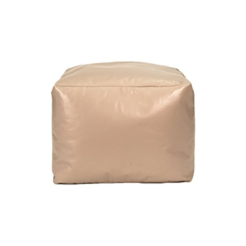 Gold Medal Bean Bags Leather Look Vinyl Ottoman, Small, Cobblestone