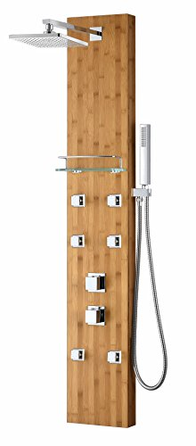 Crane Series 60 in. Full Body Shower Panel System with Heavy Rain Shower and Spray Wand in Natural Bamboo (System Panel Series)