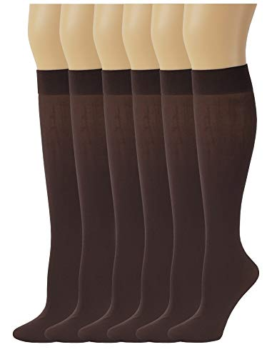 6 Pairs Women's Opaque Spandex Trouser Knee High Socks Queen Size 10-13 (Brown) -
