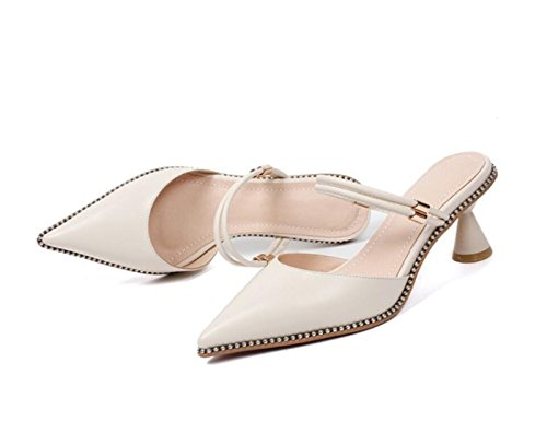 Libre 34 pie Beige la Zapatos del Cerrado del Negro Las tacón Novedad Zapatos de Mujeres del DANDANJIE Zapatos Verano Cerrado Aire 39 Dedo de al caseros tamaño Sandalias Las de de AgFnwx7