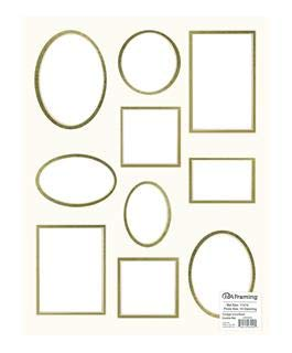 PA Framing, Specialty Collage Mat, 11 Openings, 11 x 14 inches, Natural Cream Core/Ivory Outer and Gold Inner