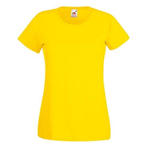 Fruit Of The Loom- Camiseta de manga corta Valueweight para mujer Amarillo