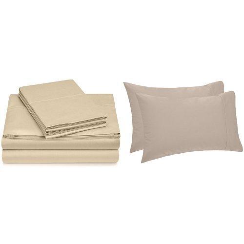 Pinzon Hemstitch 400TC Egyptian Cotton Sateen Sheet Set, Que