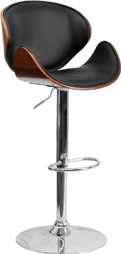 Flash Furniture Walnut Bentwood Adjustable Height Barstool with Curved Back and Black Vinyl Seat (Breakfast Backs Bar With Stools)