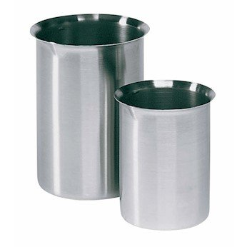 Cole-Parmer Stainless-steel Griffin-style beaker with easy-pour rim, 3000 mL