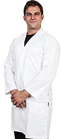 Men Lab Coat with 41 inch Kick Pleat, Medium (White) by Utopia Wear