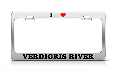 I HEART VERDIGRIS RIVER Kansas Rivers Metal Auto License Plate Frame Tag Holder