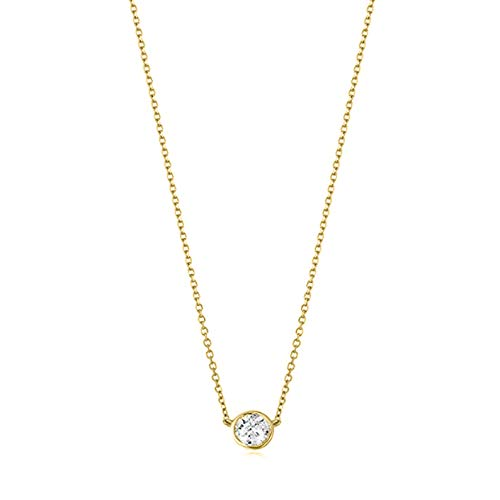 Collar certificado con bisel de diamantes de talla brillante en oro blanco, amarillo o rosa (color K-L, claridad I2-I3) - Extensor de 16 + 2 - Elección de pesos en quilates