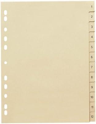 12-teilig Vollformat DIN A4 Papier 110 g//m/² Register 1-12 10 St/ück Zahlen