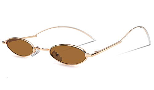 FEISEDY Vintage Small Sunglasses Oval Slender Metal Frame Candy Colors B2277 (9 Brown, 51)