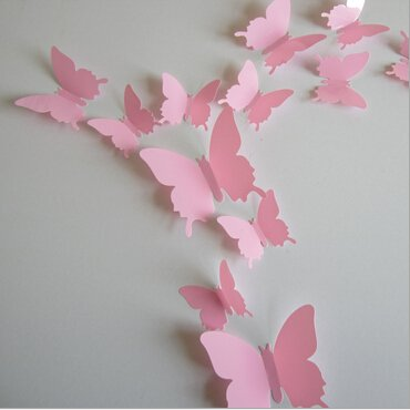 QZT 12Pcs PVC 3D Butterfly Wall Decor Cute Butterflies Wall Stickers Art Decals Home Decoration pink by QZT