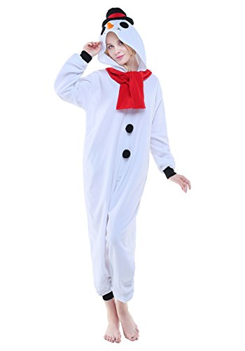 Adult Cosplay Costume Pajamas Animal Jumpsuit Outfit Anime Makeup Partywear-Snowman,S (Snowman Make Up)