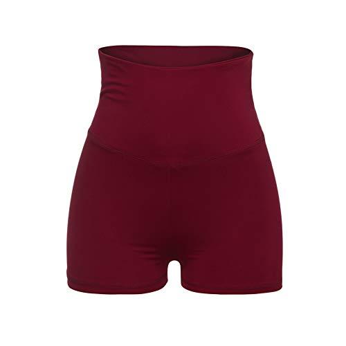 Thenxin Women's High Waist Yoga Legging Shorts Tummy Control Compression Slimming Workout Capri(Red,L)