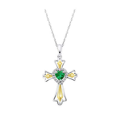 (14k Gold Over Cross Pendant Simulated Emerald Fleur-de-lis Cross Halo Heart Prayer Christian Pendant Necklace 18 inches Easter Day Gift)