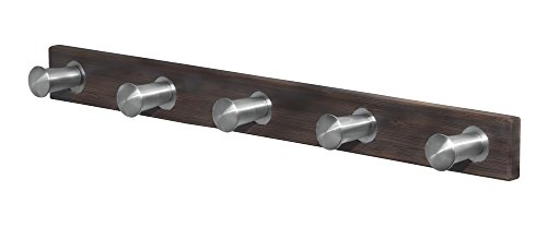 InterDesign Formbu Wall Mount Entryway Storage Rack for Jackets, Coats, Hats, Scarves -	5 Hooks, Espresso/Brushed Stainless Steel - Coat Rack Wall Mount