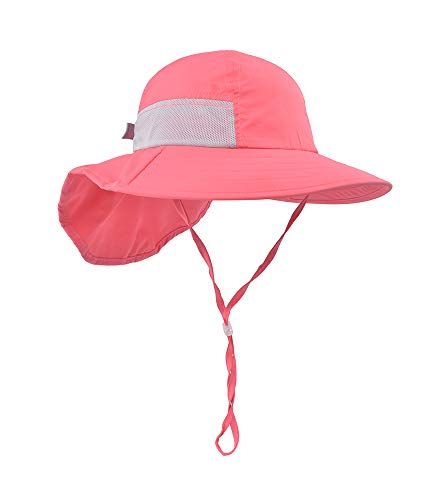 Kid Beach hat Infant Sun Hat Kids Play hat Outdoor Activities Baby Girl's Hats Coral Pink ()