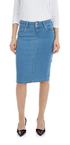 Esteez Women's Denim Pencil Skirt - Knee Length Beverly Hills Light Blue 10