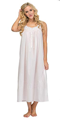 (Eileen West Swiss Dot Nightgowns - Sleeveless Cotton Blend Long Nightgown in Pink Windsong (Pink, Large))