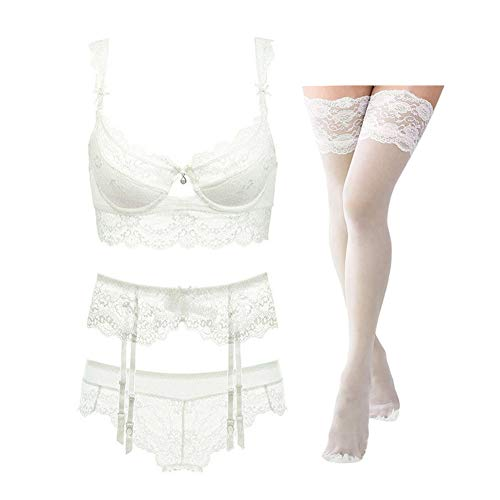 Women Push Up Embroidery Bras Set Lace Lingerie Bra and Panties and Socks 4 Piece (N399, 36B, Cream White)