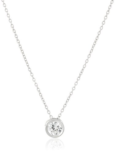 Platinum Plated Sterling Silver Round Cut 6.5mm Cubic Zirconia Pendant Necklace, (Sterling Silver Cubic Zirconia Necklace)