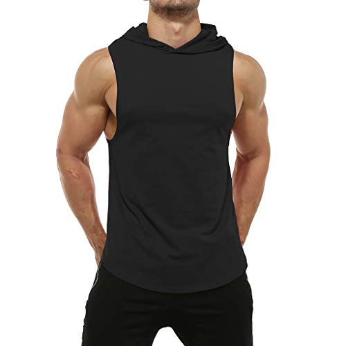 Canserin Men's Summer Workout Hooded Tank Tops Bodybuilding MuscleT Shirt Sleeveless Gym Hoodies(Black,XL)