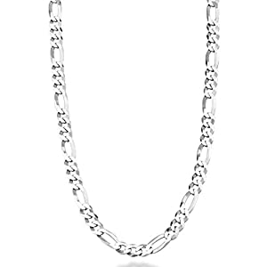 Best Epic Trends 31%2ByDNSF4fL._SS300_ Miabella Solid 925 Sterling Silver Italian 5mm Diamond-Cut Figaro Link Chain Necklace for Women Men, 16, 18, 20, 22, 24…