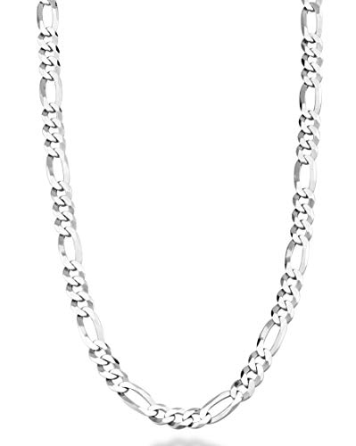 "MiaBella Solid 925 Sterling Silver Italian 5mm Diamond-Cut Figaro Link Chain Necklace for Women Men, 16"", 18"", 20"", 22"", 24"", 26"", 30"" (22)"