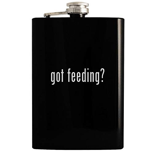 - got feeding? - 8oz Hip Drinking Alcohol Flask, Black