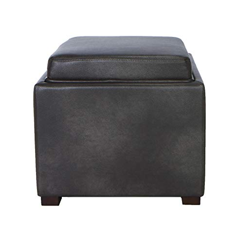 (Cortesi Home Mavi Grey Top Tray Storage Cube Ottoman in Bonded Leather)