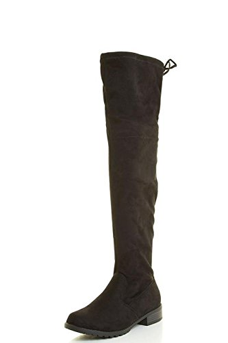 Forever Link Womens Over Knee High Drawstring Tie Lace up Chunky Thick Heel Boots 8 Black