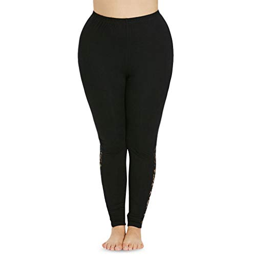 iHPH7 Plus Size Dress Yoga Pants High Waisted Stretch Flared Leg Pants for Workout Work Women Casual Plus Size Lace Skinny Sport Leggings Trousers (L,Black)