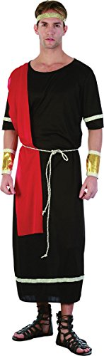 Adult Fancy Dress Party Roman God Toga Warrior Caesar Mens Complete Outfit Black ()