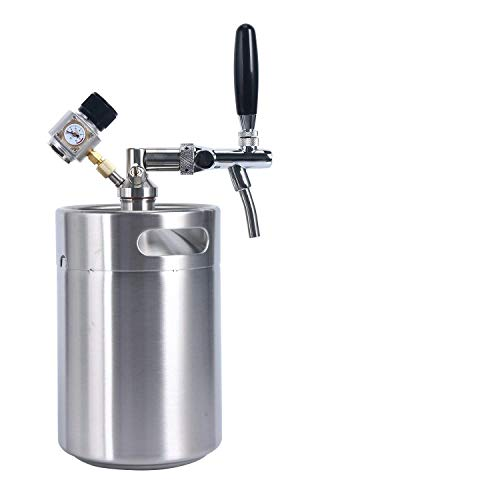(YaeBrew 170 oz 5L Homebrew Keg System Kit for Home Brew Beer - with a Cool Bank Beer Dispensor, Cool Bank Mini CO2 Regulator and a Cool Bank 170 Ounce Stainless Steel Keg)
