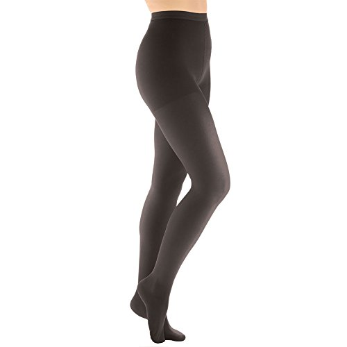 Women's Moderate Compression Pantyhose - Support Plus - Black - Queen Plus