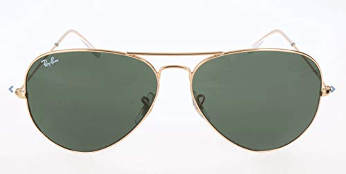 Ray-Ban RB3026 Aviator Large Metal II Sunglasses, Gold/Green, 62 ()