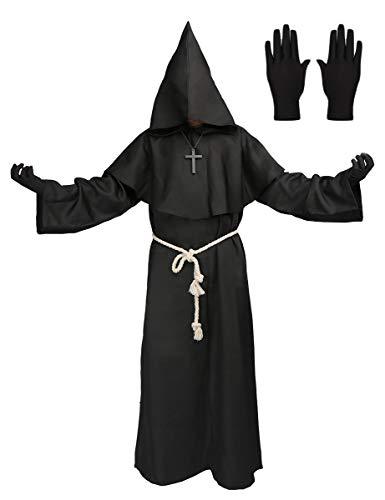 Medieval Monk Robe Priest Hooded Cap Cloak Halloween Cosplay Costume for Wizard Sorcerer (XLarge, Black) ()