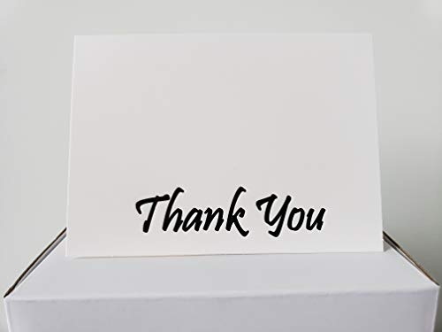 Thank You Cards - 100 Count - White Cards with Black LetterPress Text - Blank Inside, Includes Cards, Envelopes, and Seal Stickers; Great for Weddings, Graduations, Baby Showers, Bridal Showers