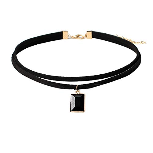 C 4 Jewellery Gems - Velvet Gothic Choker Necklaces with Black Gem Pendant Double Layer Punk Choker for Women and Girls (C)