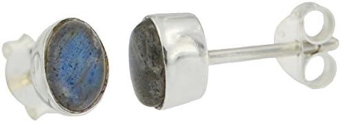 ERCE labradorita piedra semipreciosa pendientes ovales, plata de ley 925