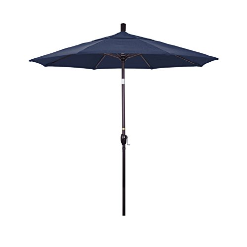 California Umbrella 7.5 Round Aluminum Market Umbrella, Crank Lift, Push Button Tilt, Bronze Pole, Olefin Navy Blue