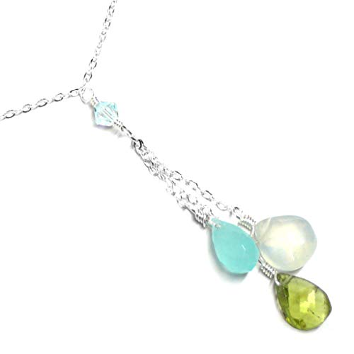 Peridot Chalcedony Serpentine Three Briolettes Dainty Y-Chain 18 Inches Sterling Silver