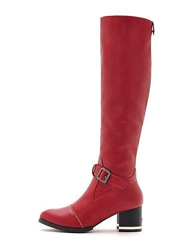 Y Eu38 Black Uk5 Negro us7 Red Moto Zapatos Botas A Cn Mujer Vestido us8 Uk6 Eu39 Cn39 Noche Moda Rojo 5 Fiesta Sintético Cn38 Robusto La Xzz Casual De 5 Tacón aqwpOOfS