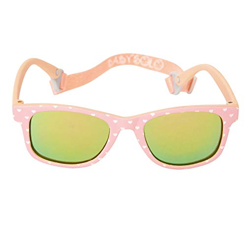 Baby Solo Babyfarer Baby Sunglasses Safe, Soft, Adjustable and Adorable 0-24 Months (0-24 months, Pink Sweet Heart Frame w/Rose Gold Mirror Lens)]()