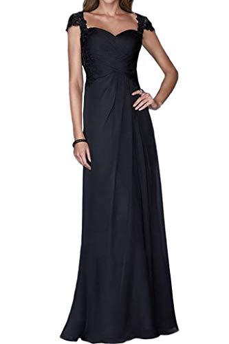 mia Spitze Partykleider Lang Linie Rock Blau Abendkleider Chiffon Navy La A Wunderschoen Kurzarm Braut Promkleider UwxAB